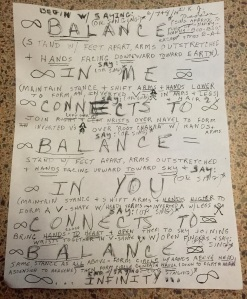 Motivational artwork Kitty created as a chant & yoga movement for balance.